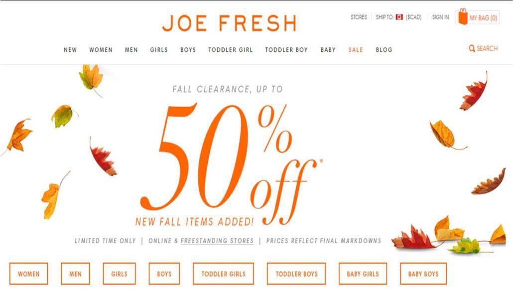 joe fresh black friday deal
